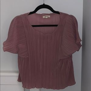Madewell pink blouse with pleats